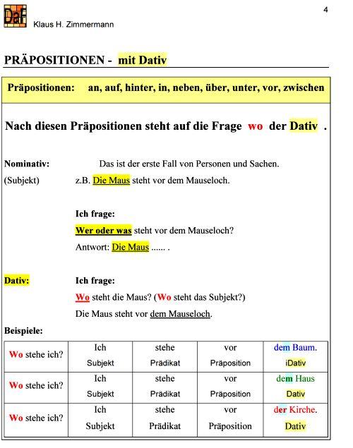 deutsch als fremdsprache daf daz grammatik pr228positionen